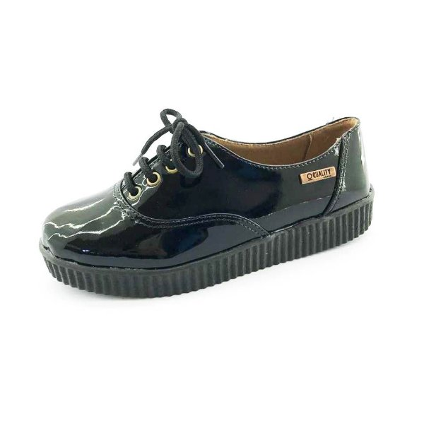 Tênis Creeper Quality Shoes Feminino 005 Verniz Preto