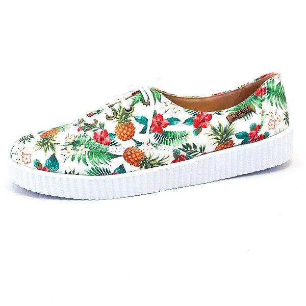 Tênis Creeper Quality Shoes Feminino 005 Abacaxi Branco