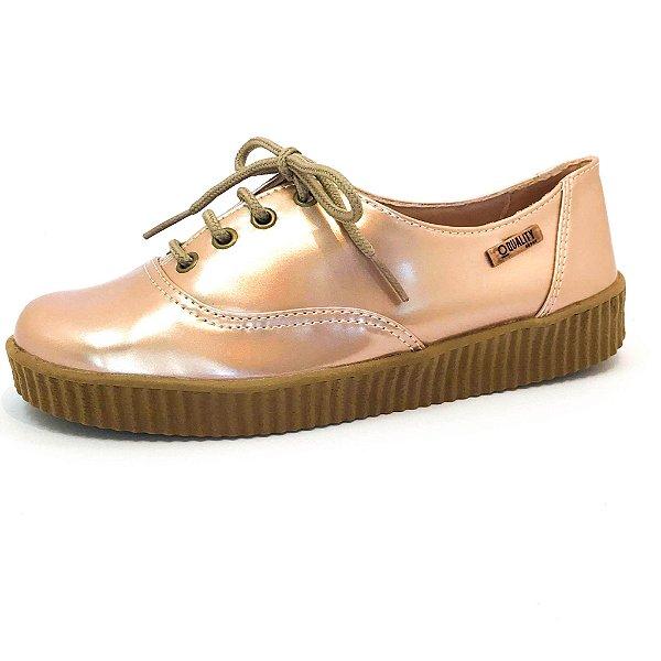 Tênis Creeper Quality Shoes Feminino 005 Verniz Metalizado