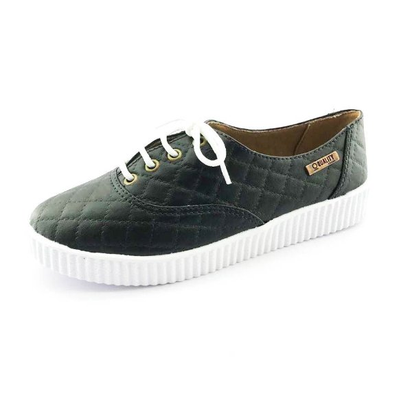 Tênis Creeper Quality Shoes Feminino 005 Matelassê Preto