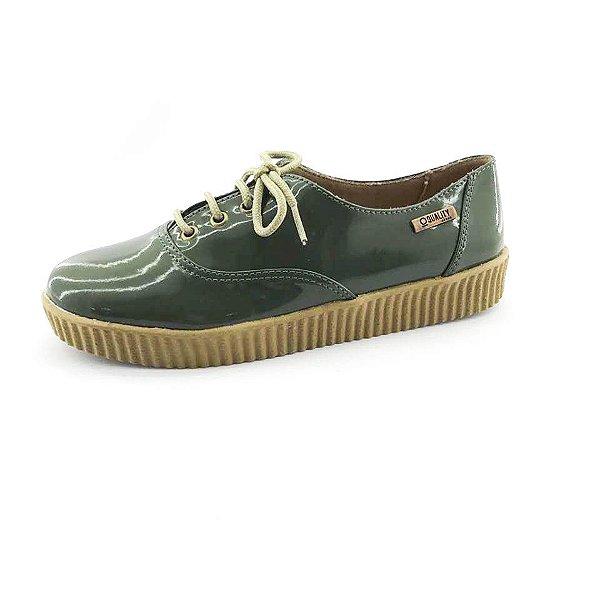 Tênis Creeper Quality Shoes Feminino 005 Verniz Verde Militar Sola Caramelo