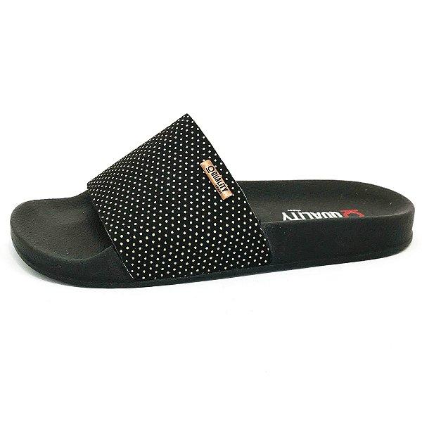 Chinelo Slide Quality Shoes Feminino Preto Poá Dourado Sola Preta