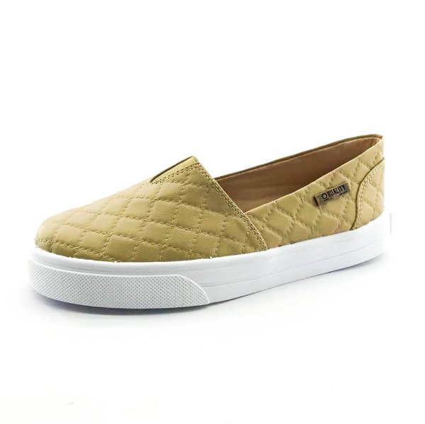 Tênis Slip On Quality Shoes 003 Matelassê Bege