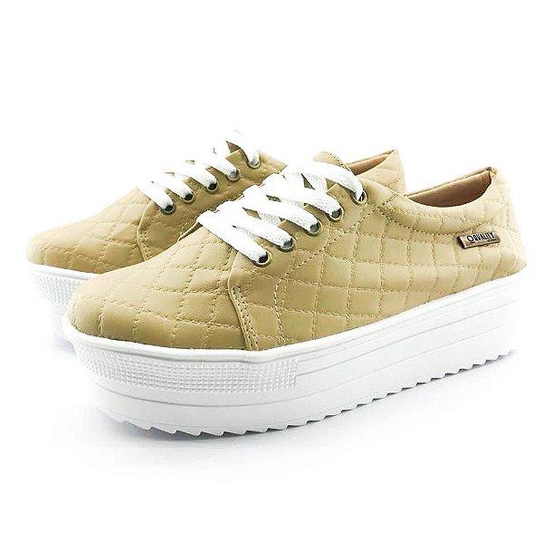 Tênis Quality Shoes Flatform 007 Matelassê Bege Sola Alta