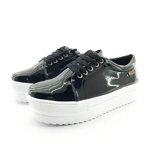 Tênis Quality Shoes Flatform 007 Verniz Preto Sola Alta