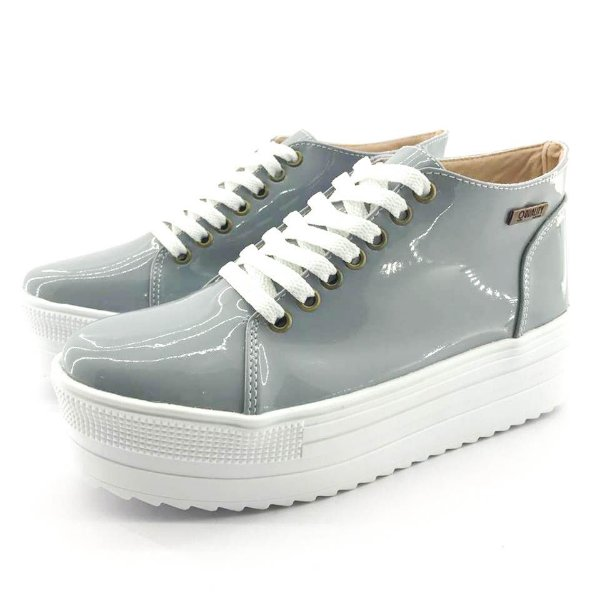 Tênis Quality Shoes Flatform 006 Verniz Cinza Sola Alta