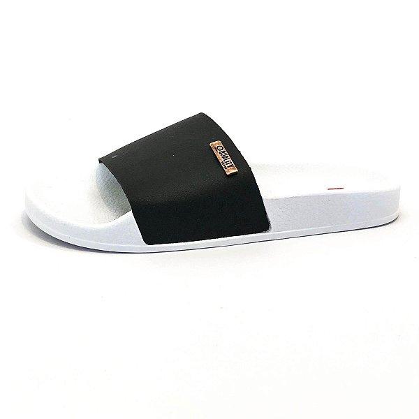 Chinelo Slide Quality Shoes Feminino Preto Sola Branca
