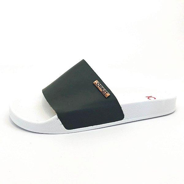 Chinelo Slide Quality Shoes Feminino Cinza Sola Branca