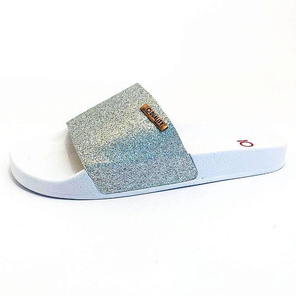 Chinelo Slide Quality Shoes Feminino Glitter Prata Sola Branca