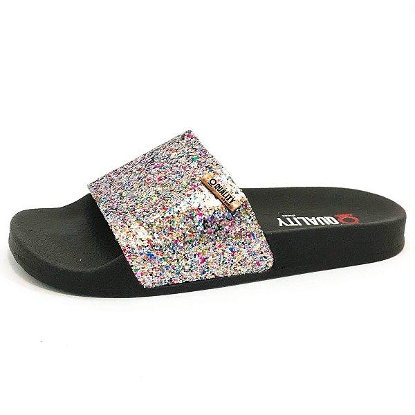 Chinelo Slide Quality Shoes Feminino Glitter Prata Sola Preta