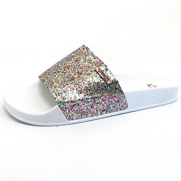 Chinelo Slide Quality Shoes Feminino Glitter Colorido Sola Branca