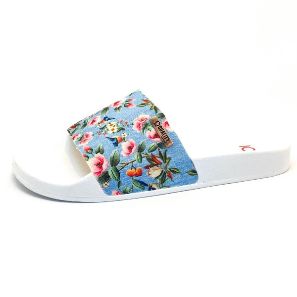 Chinelo Slide Quality Shoes Feminino Floral 797 Sola Branca