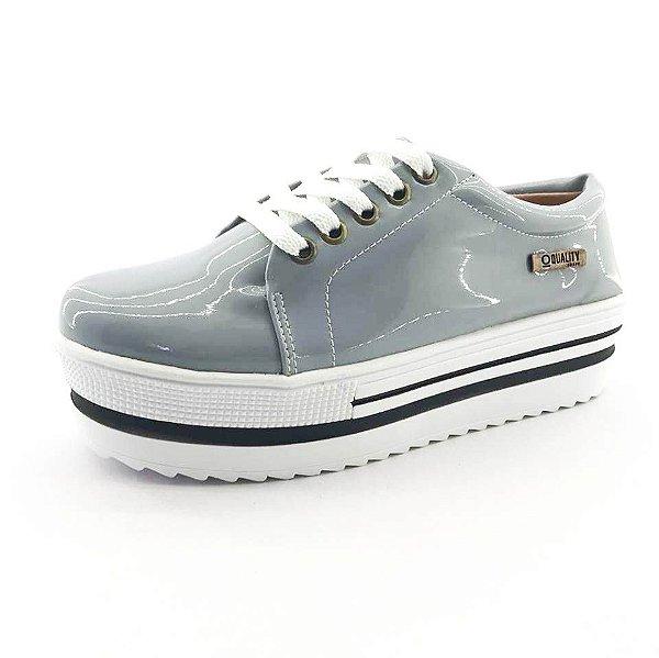 Tênis Quality Shoes Flatform Verniz Cinza Sola Alta com Detalhe