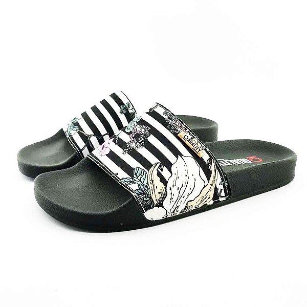 Chinelo Slide Quality Shoes Feminino Listas Preto e Branca Sola Preta