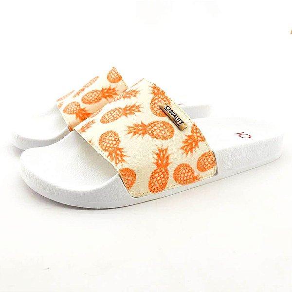 Chinelo Slide Quality Shoes Feminino Abacaxi Laranja Sola Preta