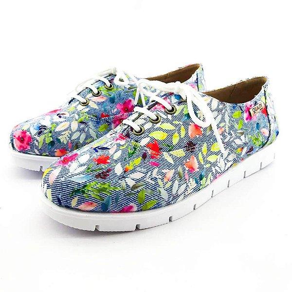 Tênis Quality Shoes 005 Floral Jeans Sola Tratorada