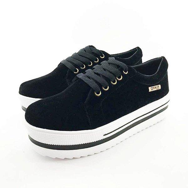Tênis Quality Shoes Feminino 007 Camurça Preto Sola Branca Com Detalhe
