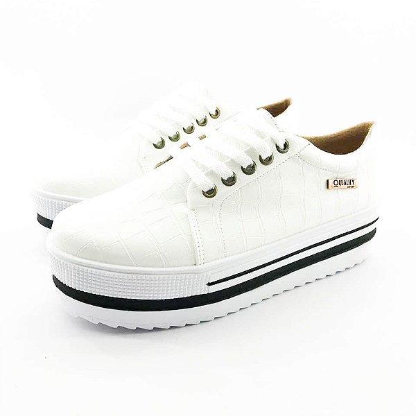 Tênis Quality Shoes Flatform 007 Croco Branco Sola Alta com Detalhe