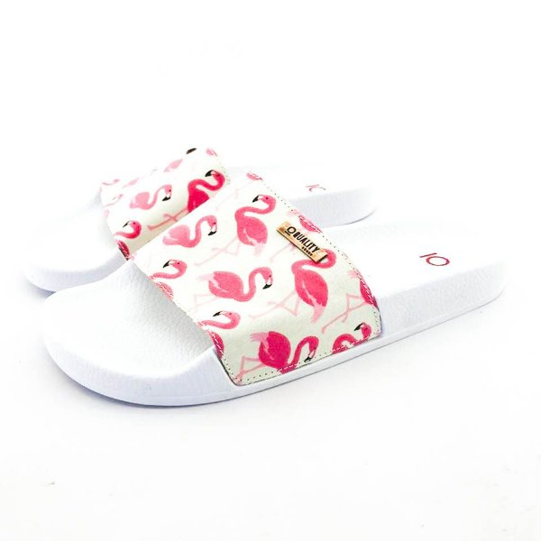 Chinelo Slide Quality Shoes Feminino Flamingo Rosa/Bege Sola Branca