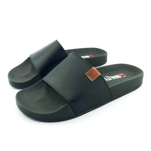 Chinelo Slide Quality Shoes Masculino Courino Preto Sola Preta