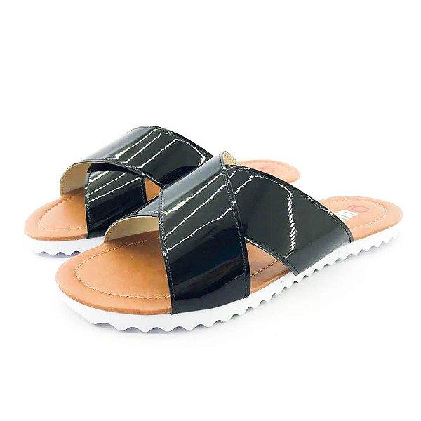 Rasteira Quality Shoes Feminina Verniz Preto