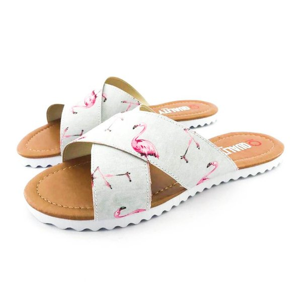 Rasteira Quality Shoes Feminina 008 Flamingo Cinza