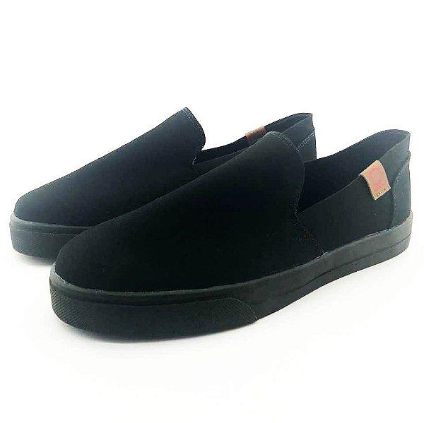 Tênis Slip On Quality Shoes 004 Lona Preta Sola Preta