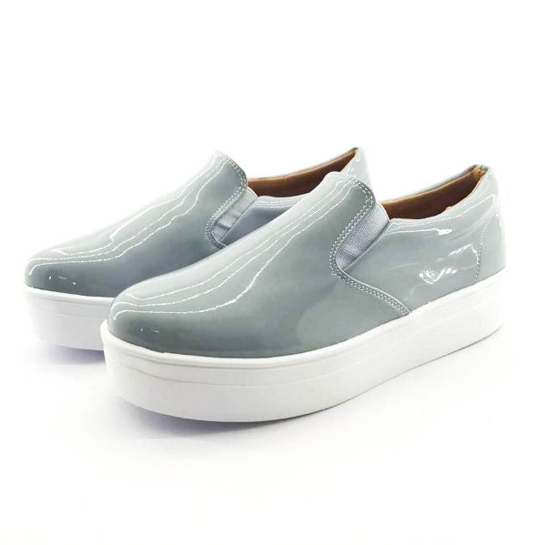Tênis Flatform Quality Shoes Feminino 009 Verniz Cinza