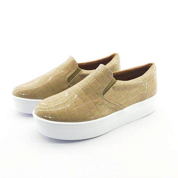 Tênis Flatform Quality Shoes Feminino 009 Verniz Croco Nude