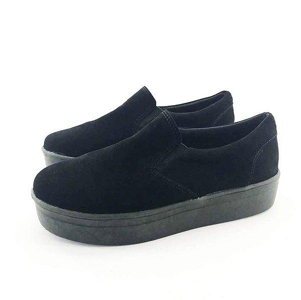 Tênis Flatform Quality Shoes Feminino 009 Camurça Preto