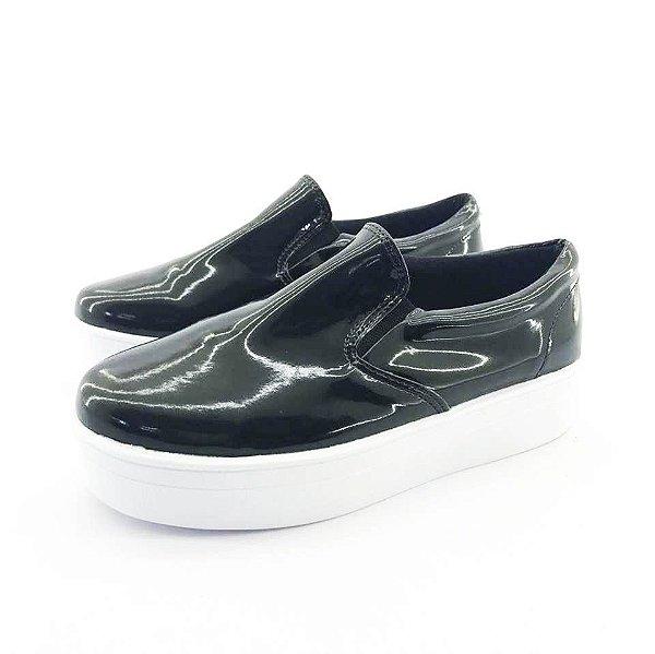 Tênis Flatform Quality Shoes Feminino 009 Verniz Preto