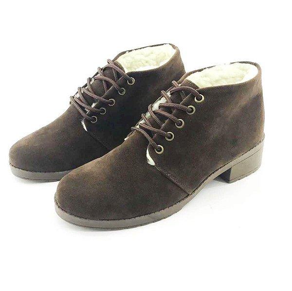 f9360ee7aa Bota Coturno Forrada em Lã Quality Shoes Feminina Camurça Marrom ...