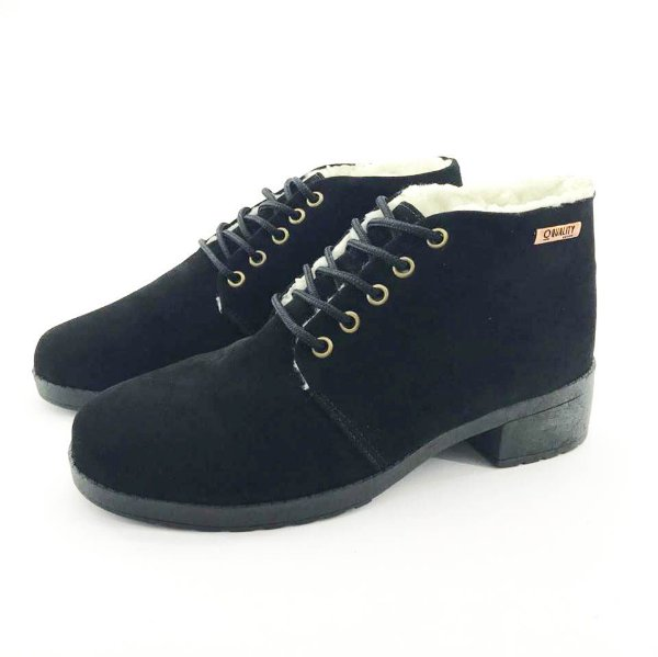 Bota Coturno Forrada em Lã Quality Shoes Feminina Camurça Preto