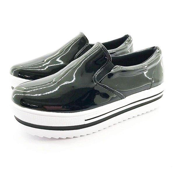 Tênis Flatform Quality Shoes Feminino 009 Verniz Preto Sola Alta com Detalhe