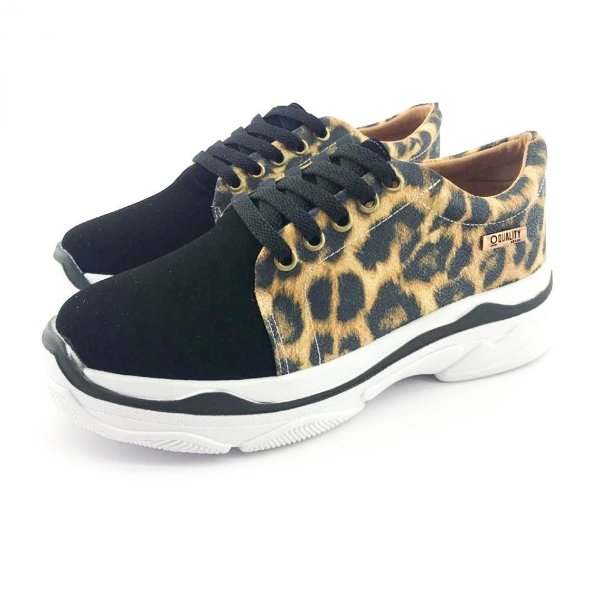 Tênis Chunky Quality Shoes Feminino Animal Print e Preto