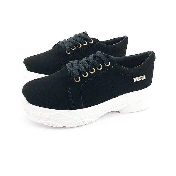 Tênis Chunky Quality Shoes Feminino Nobuck Preto 2