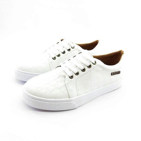 Tênis Quality Shoes Feminino 007 Croco Banco