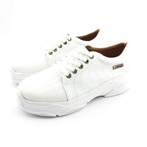 Tênis Quality Shoes Feminino Chunky Croco Banco