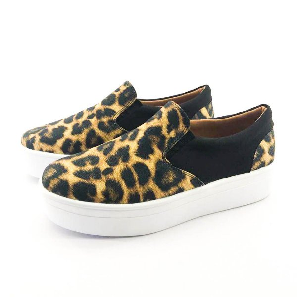 Tênis Flatform Quality Shoes Feminino 009 Animal Print e Preto