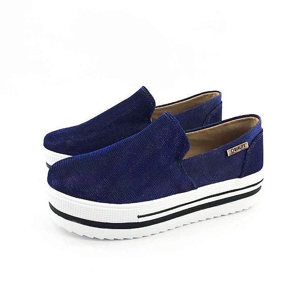 Tênis Quality Shoes Flatform 004 Multicolor Azul Sola Alta com Detalhe