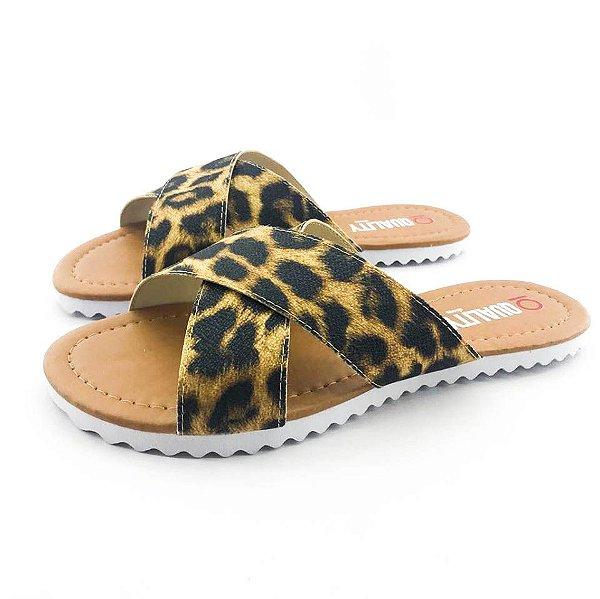 Rasteira Quality Shoes Feminina 008 Animal Print