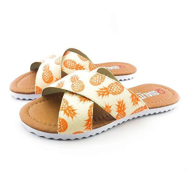 Rasteira Quality Shoes Feminina 008 Abacaxi Laranja