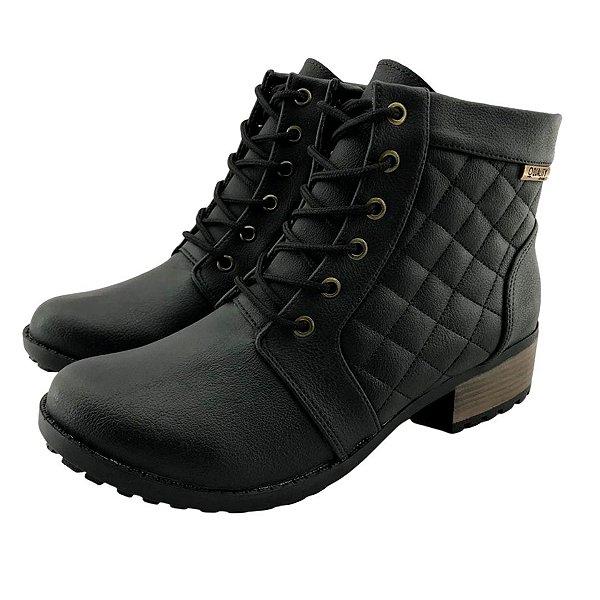 Bota Coturno Quality Shoes Feminina Courino/Matelassê Preto