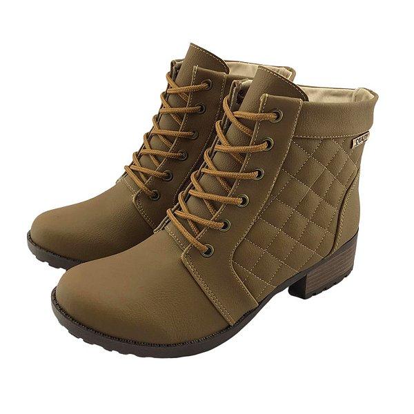 Bota Coturno Quality Shoes Feminina Courino/Matelassê Marrom