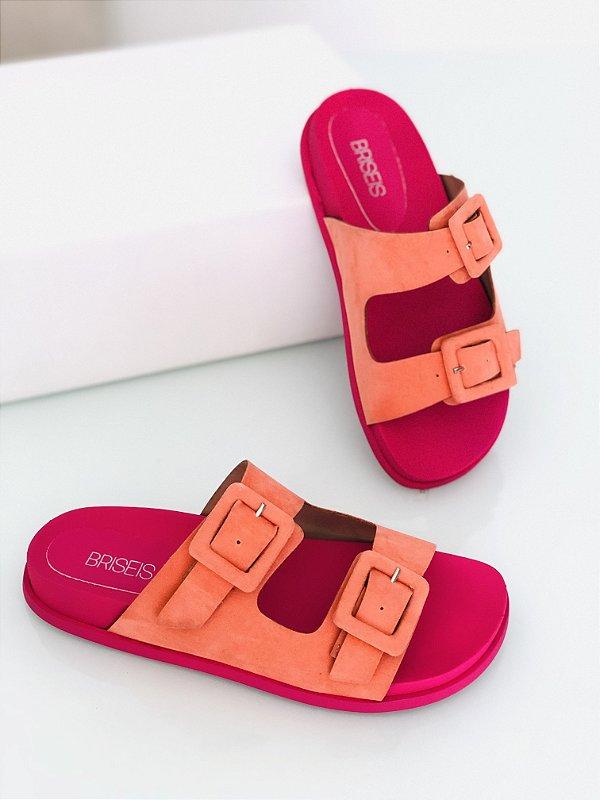 Sandália Birken Slide Laranja Pink