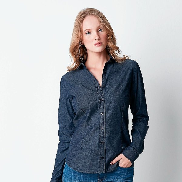 Camisa Jeans Feminina Hiatto Manga Longa Slin Básica