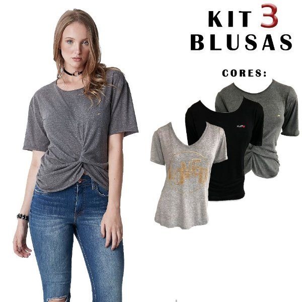 KIT 3 Modelos de blusas femininas Hiatto manga Curta