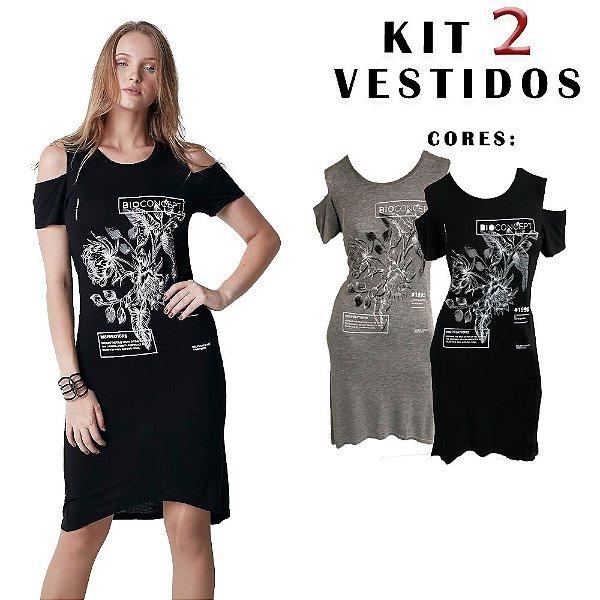 KIT 2 Vestidos Femininos Hiatto Manga Curta Detalhe Ombro