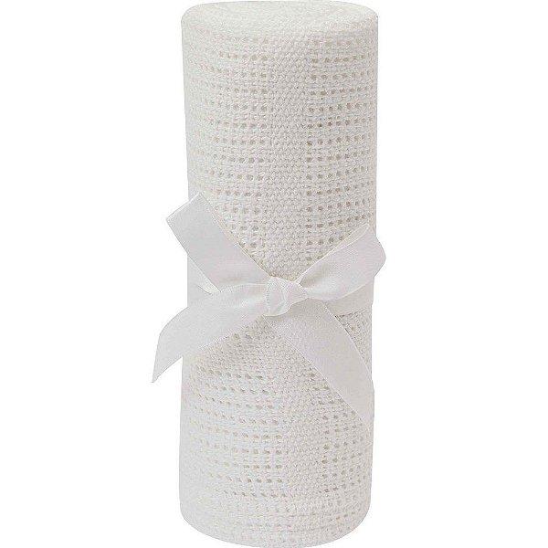 Mantinha de Tricô Branca para Bebê +3m - Buba