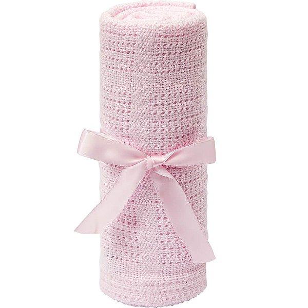 Mantinha de Tricô Rosa para Bebê +3m - Buba